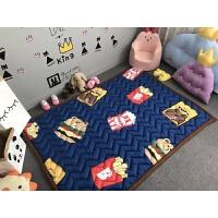 春夏加厚宝宝爬行垫防滑儿童地垫游戏毯折叠榻榻米布质婴儿爬爬垫 浅蓝色 加厚--薯条熊