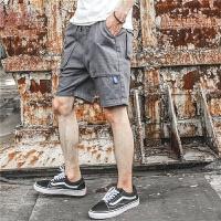 2017夏装日系男士立体大口袋纯色棉麻短裤休闲短裤工装裤男潮