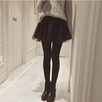 初秋新款女装蕾丝假两件拼接加绒加厚弹力修身显瘦打底裤裙裤女