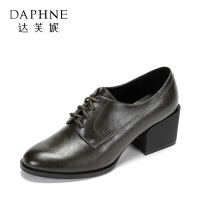 Daphne/达芙妮秋季 圆头中跟复古系带粗跟英伦风小皮鞋女--