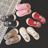 儿童帆布鞋宝宝童鞋一脚蹬女童鞋男童小白鞋