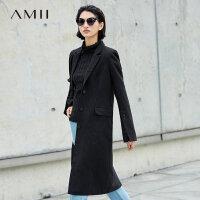 【5折价:396元/再叠优惠券】Amii极简流行羊毛毛呢外套女2018冬新款翻领开衩宽松长款纯色大衣