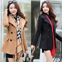 2017秋冬新款女装时尚韩版修身大码毛呢外套短款显瘦呢子大衣褂子