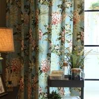 窗帘美式乡村简欧田园遮光客厅卧室飘窗成品 要几米拍几件