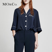 MOCO休闲ins睡衣风短袖漏锁骨复古白衬衫女新款心机薄款宽松
