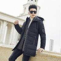 男士羽绒服2019新款中长款立领宽松防寒加厚冬装衣服韩版帅气外套