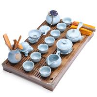 唐丰陶瓷汝窑茶具套装家用功夫茶具茶盘实木茶台泡茶茶杯整套