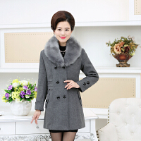 妈妈装毛呢外套秋装女士新款中老年女装40-50岁羊毛长款呢子大衣
