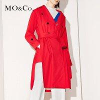 MOCO翻领双排扣口袋开衩系腰带中长款风衣外套MA171TRC107 moco