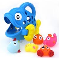 宝宝喷水吸水玩具游泳馆浴室洗澡戏水卡通吞吞鱼儿童玩具礼物 浴室喷水吞吞鱼【蓝色】