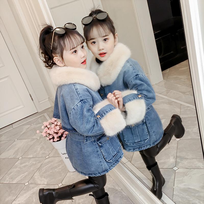 女童棉衣冬装儿童牛仔加绒外套