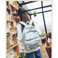 涂鸦背包女双肩包女包韩版个性条纹初中学生书包帆布旅游包大容量