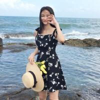 约会撩汉吊带连衣裙夏季新款韩版甜美修身收腰显瘦碎花连衣裙女潮