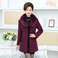 中老年女装冬装纯色羊毛呢外套中长款妈妈装加厚大码羊绒呢子大衣