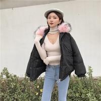 冬季新款韩版百搭宽松ulzzang女短款加厚大毛领棉衣工装外套 均码