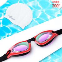 高清电镀防水防雾近视大框游泳眼镜男女硅胶防水泳帽游泳装备