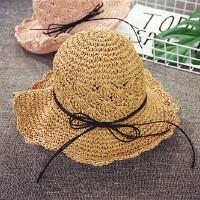 儿童草帽女沙滩帽可折叠亲子大沿遮阳帽夏季度假母女太阳帽韩版
