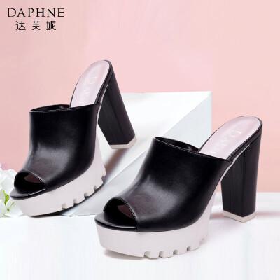 Daphne/达芙妮春夏季 圆头高跟厚底防水台鱼嘴鞋女凉鞋