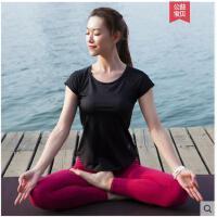 休闲简约运动服健身房瑜伽服女运动短袖紧身裤速干弹力套装含胸垫