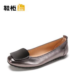 Daphne/达芙妮旗下 鞋柜方头船鞋舒适软底单鞋女黑色皮鞋女