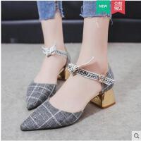 包头凉鞋女ins同款韩版时尚百搭尖头一字扣带粗跟单鞋少女高跟鞋