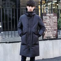 冬季新款羽绒服男士中长款韩版修身青年加厚灰鸭绒保暖外套潮 黑色