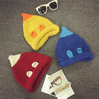 儿童尖尖帽冬天毛线帽男女宝宝套头帽针织帽卷边保暖护耳帽婴儿帽