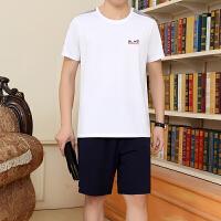 中年男士运动套装夏款圆领短袖短裤休闲套装夏晨跑爸爸装运动服男