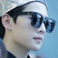 女士太阳镜时尚潮韩版明星款眼镜方形大框百搭情侣墨镜男