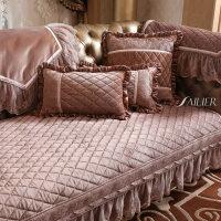 欧式布艺沙发垫美式 防滑毛绒皮坐垫沙发巾套罩四季通用