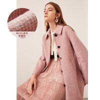 活动到手价448丨红袖羊毛大衣女冬装新款粉色修身显瘦双面呢子赫本风毛呢外套