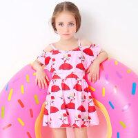 儿童泳衣女孩中大童 女童小童连体裙式宝宝游泳衣儿童泳装 支持礼品卡支付