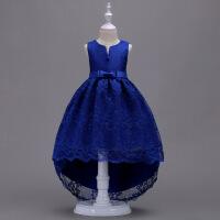 女童公主蓬蓬裙大女孩子古筝钢琴拖尾演出裙女宝宝生日花童礼服裙