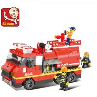 小鲁班积木 城市系列/大型消防车 儿童拼装拼插益智积木玩具B0220