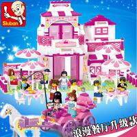 小鲁班积木益智拼装插女孩餐厅公主系列儿童玩具