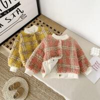 童装秋冬上衣女童格子外套宝宝保暖儿童短款夹克潮