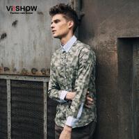 viishow秋装新款长袖衬衫 潮流迷彩长袖衬衣 纯棉图案衬衫男