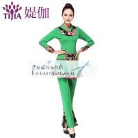 广场舞服装新款套装女上衣裤子裙子中老年舞衣舞蹈服 绿色 裙裤套装