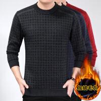 新款中老年人男士毛衣秋冬季爸爸装毛衫中年男装加绒保暖针织衫