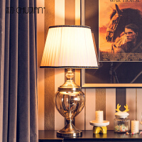 欧式金属玻璃台灯样板房摆件装饰品客厅茶几电视柜家居摆设 金属玻璃台灯【含灯罩】