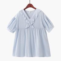 高腰宽松泡泡短袖甜美娃娃衫雪纺衫木耳边衬衫女