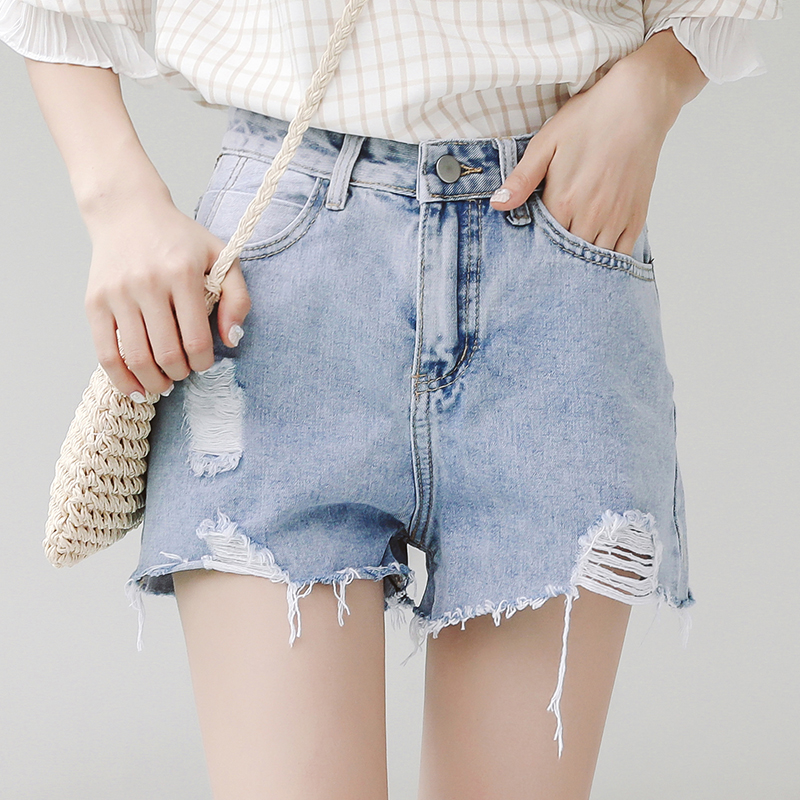 RANJU 然聚2018女装夏季新品新款牛仔短裤女韩版高腰阔腿破洞热裤潮