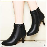 古奇天伦新款百搭韩版裸靴小跟短靴子女高跟鞋细跟尖头加绒马丁靴冬季
