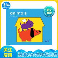 【预订】Touch Words: Animals 动物 儿童触摸趣味认知 适合0-3岁