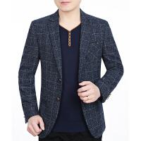 春秋季新款男装休闲中年男士西服外套便西韩版修身小西装上衣 69301蓝灰 5码