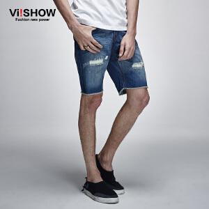 viishow夏季新款牛仔短裤 欧美街头潮流猫须牛仔短裤五分裤男  ND*752