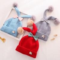 秋冬季保暖内衬毛线帽子女童可爱蝴蝶结潮