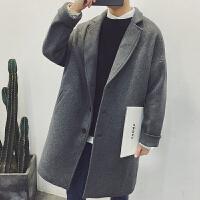 冬季毛呢翻领大衣男修身加厚中长款呢子风衣男装文艺范休闲男外套