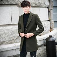 毛呢大衣男中长款冬季男士呢子外套羊毛妮子加厚夹棉韩版帅气风衣