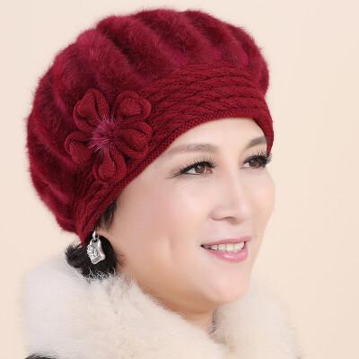 中老年人帽子女士冬天妈妈帽保暖兔毛加绒棉帽老人帽女护耳贝雷帽